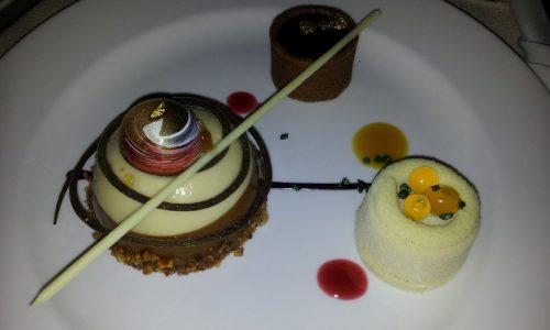 Cappucino Mousse Dome, Orange Sanguine & Chocolate Salted Caramel.
