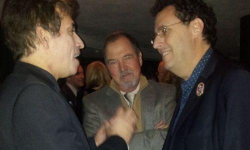 My host Sam Asi talking to Lincoln writer Tony Kushner (right) at the DreamWorks reception.