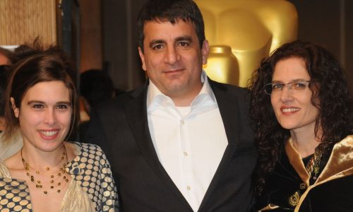 The Gatekeepers director Dror Moreh with his producers, Estelle Fialon (l) and Philippa Kowarsky