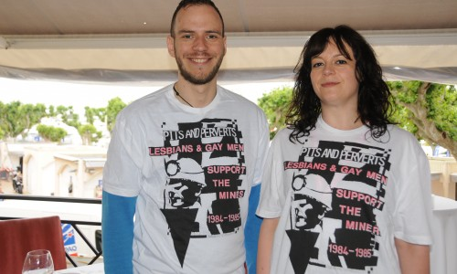 "BFI staff posing in ""Pits and Perverts"" T-shirts to promote Pride, closing the Directors Fortnight at Cannes 2014"
