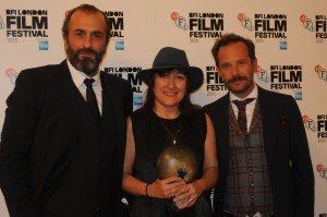 Chevalier director Athina Rachel Tsangari, with two of her actors