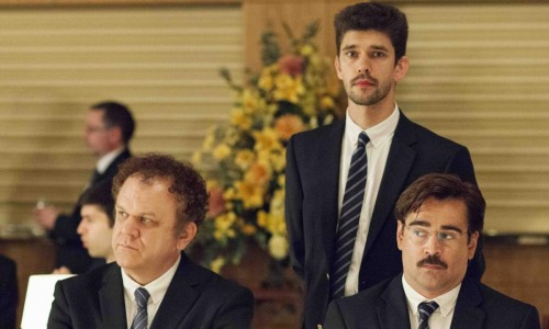 Colin Farrell (seated right) and Ben Whishaw (standing) are among The Lobster's 7 BIFA nominations