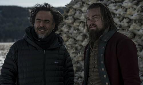 Alejandro Gonzalez Iñárritu directing Leonardo DiCaprio in The Revenant