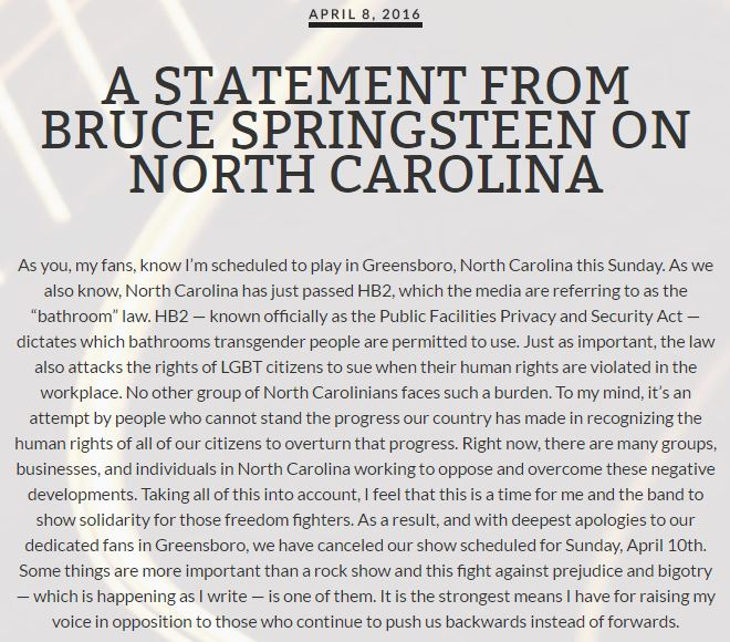 Bruce Springsteen statement