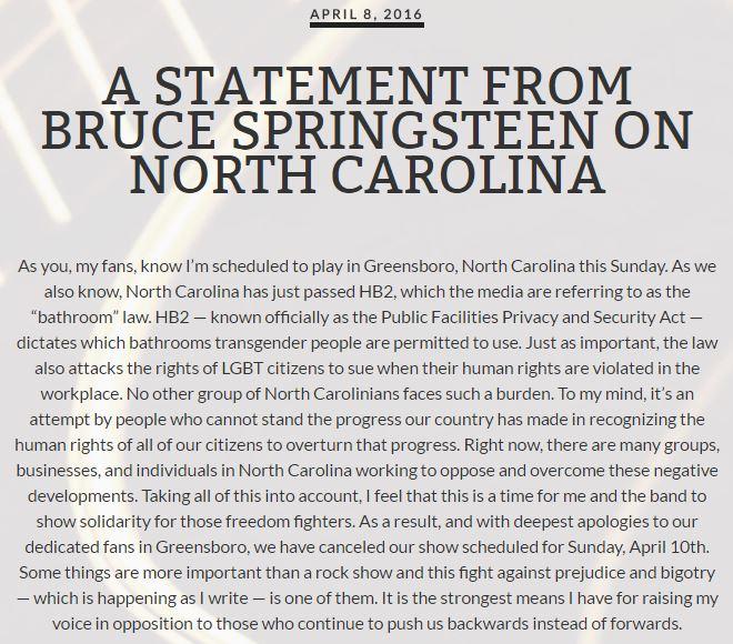 Bruce Springsteen statement