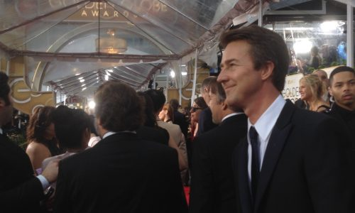 Posing for photographers on the red carpet, Edward Norton was one of many Birdman nominees to miss out