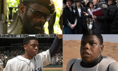 Clockwise from top left: Idris Elba, Sarah Gavron, John Boyega, Chadwick Boseman