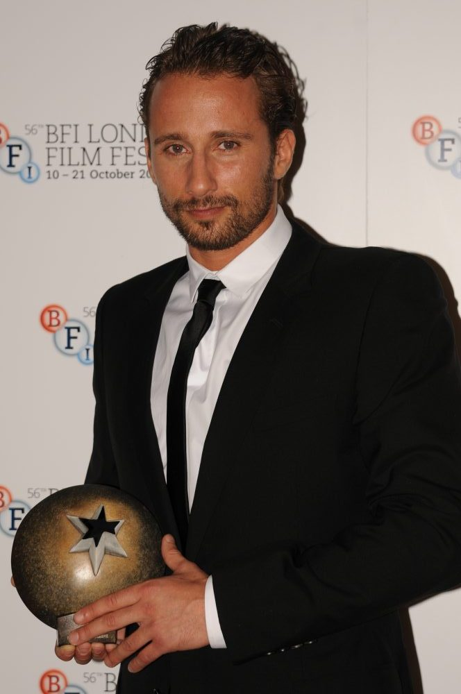 Matthias Schoenaerts collecting the award on behalf of Rust And Bone