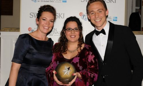 Sally El Hosaini received her Best British Newcomer award from Olivia Coleman and Tom Hiddleston