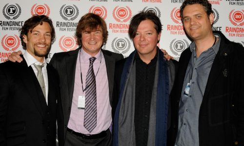 L-R: Star Kyle Schmid, executive producer Jack Bowyer, director Rudolph Buitendach, writer/producer Christian Piers Betley