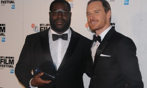 The Fellowship trophy was presented to Steve McQueen by Michael Fassbender