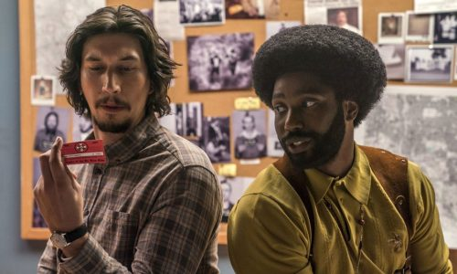 Adam Driver and John David Washington as Colorado Springs police officers in Spike Lee's BLACKkKLANSMAN.